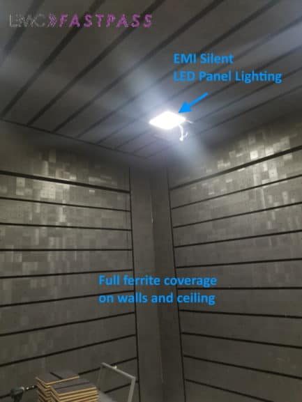 Ferrite tiles on semi anechoic emc chamber