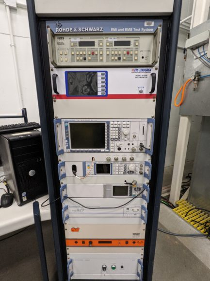 EMC test equipment rack